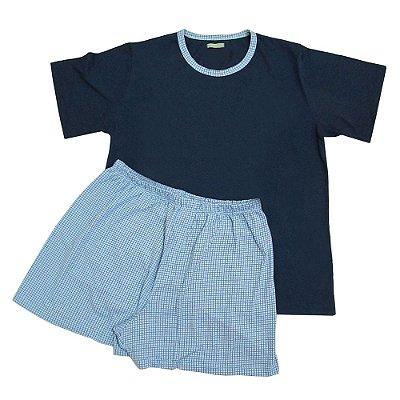 Pijama Azul Quadriculado com Short