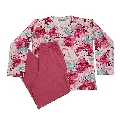 Pijama Infantil Moletom Floral