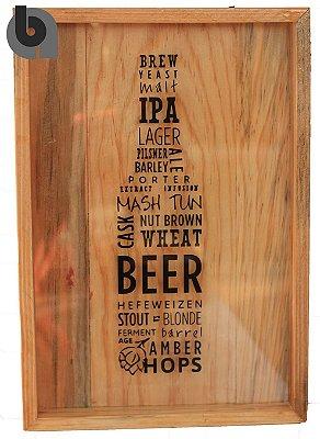"""Quadro Porta Tampinhas Decorado """"Beer"""""""