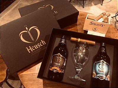Estojo Luxo Preto Harmonização - Cervejas Artesanais, Taça de Cristal e Charuto Siboney