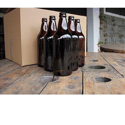 Garrafas de Cerveja 600 ml caçula - cor ambar - NOVAS - Caixa com 26 unidades