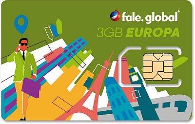 CHIP EUROPA com 3GB de internet 4G - Viagens até 14 dias