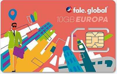 CHIP EUROPA com 10GB Internet 4G - Viagens até 14 dias