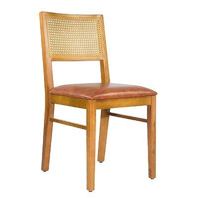 Cadeira Madeira Para Mesa de Jantar Virgo Tela Sextavada