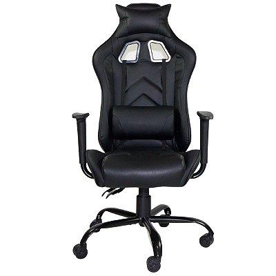 Cadeira Gamer Giratória Reclinável com Regulagem de Altura Preto