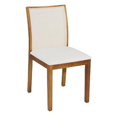 Cadeira Madeira Franca Para Mesa de Jantar Tela Slim Bege