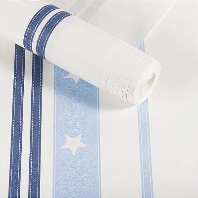 Papel De Parede Infantil Lavável Azul Listras Com Estrelas Dekor