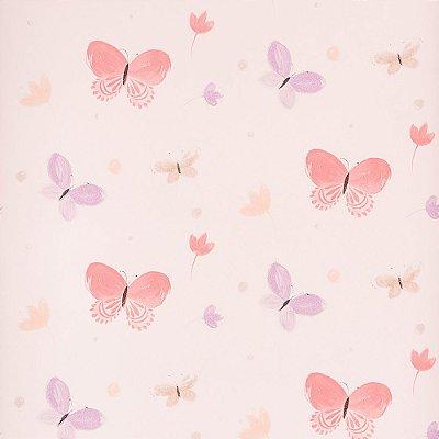 Papel De Parede Infantil Rosa Borboletas Importado Dekor