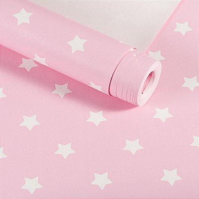 Papel De Parede Infantil Rosa Estrelas Lavável Importado Dekor