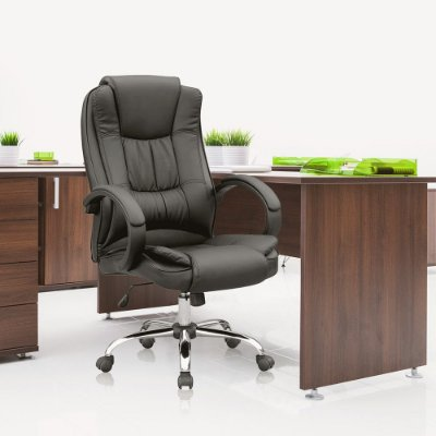 Cadeira Escritório Presidente Giratória Com Regulagem de Altura Preta