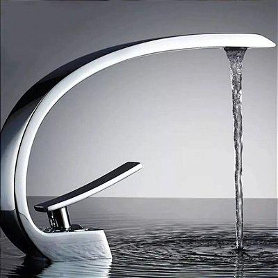 Torneira Banheiro Luxo Curvada Misturador Monocomando