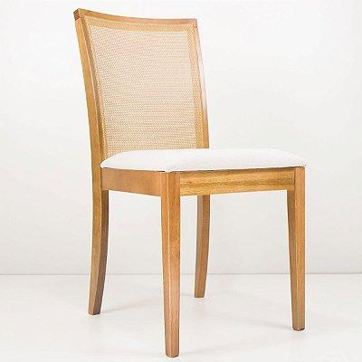 Cadeira Madeira Dom Estofada Tela Sling para Mesa de Jantar