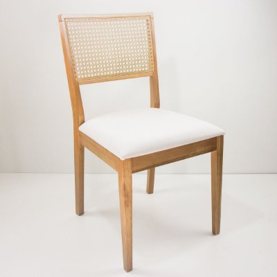 Cadeira Madeira Lais Estofada Tela Sextavada para Mesa de Jantar