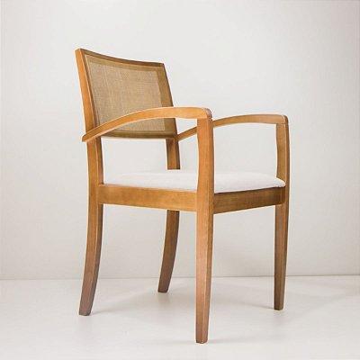 Cadeira Madeira Raquel Estofada Tela Sling para Mesa de Jantar