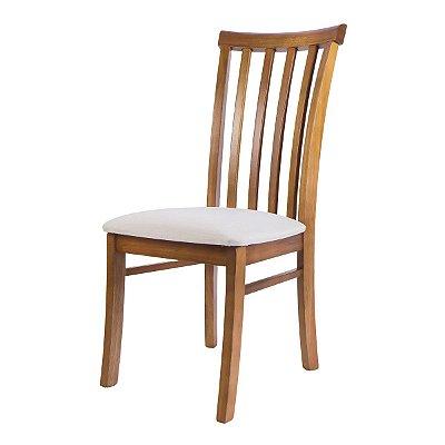 Cadeira Madeira Bistro Ripada Estofada para Mesa de Jantar