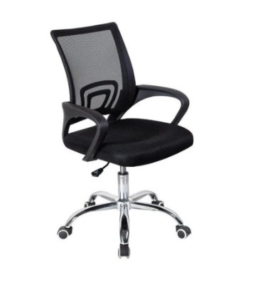 Cadeira Escritório Giratória Com Base Cromada e Tela Mesh
