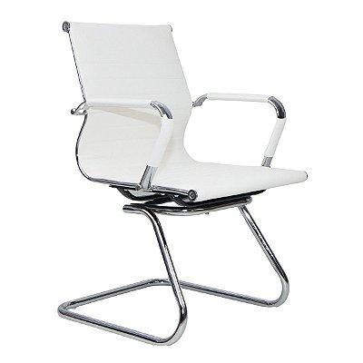 Cadeira Escritório Charles Eames Interlocutor Fixa Cor Creme