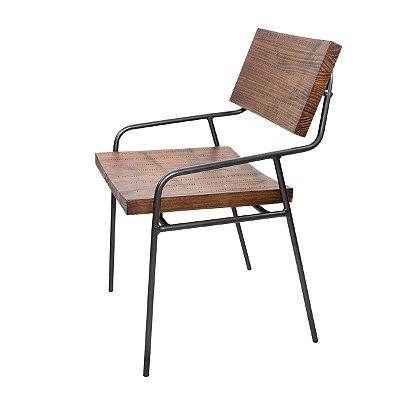 Cadeira de Jantar Allen Industrial Aço e Madeira Maciça