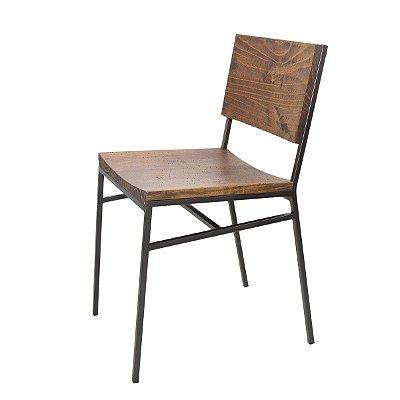 Cadeira de Jantar Harris Industrial Aço e Madeira Maciça