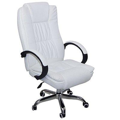 Cadeira Escritório Presidente Giratória Com Regulagem de Altura Branco