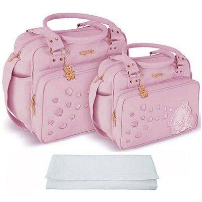 Kit de Bolsa Maternidade Rosa com Trocador Griff Baby