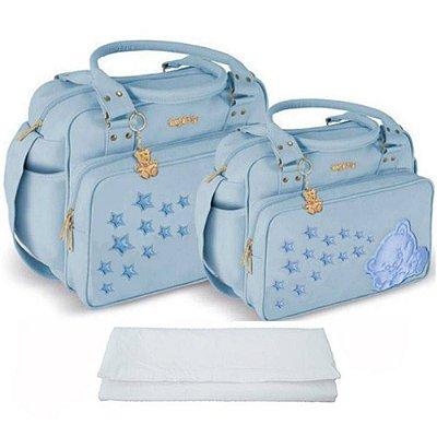 Kit Bolsa Bebê Maternidade Azul Claro com Trocador Griff Baby