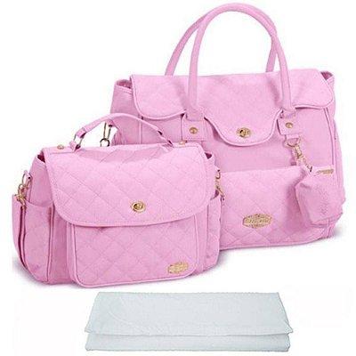 Kit de Bolsa Bebê Maternidade Rosa Trocador Griff Baby