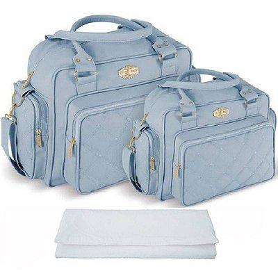 Kit Bolsa Bebê Maternidade Azul Claro Trocador Griff Baby
