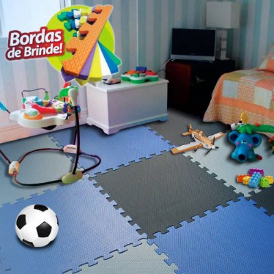 Kit 16 Chapas Tatame Tapete Eva Infantil Fitness Ginastica Azul