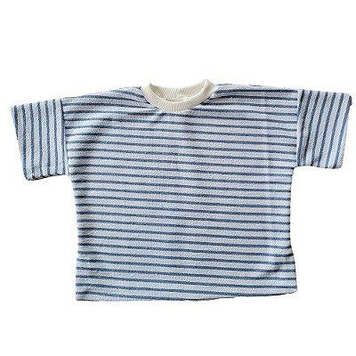 Blusão Infantil Pina Malha Sustentável Listras Azul Céu
