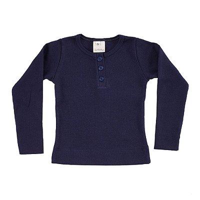 Blusa Infantil Malha Canelada Azul