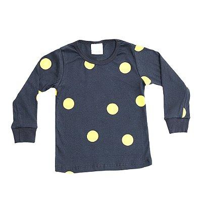 Pijama Bacim Malha Preto e Amarelo