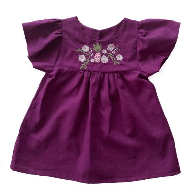 Vestido Maria Linho Bordado Roxo Baby