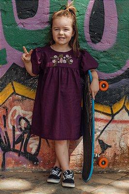 Vestido Infantil Maria Linho Bordado Roxo