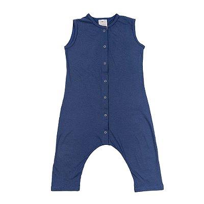 Macacão Coelho Infantil Malha Azul