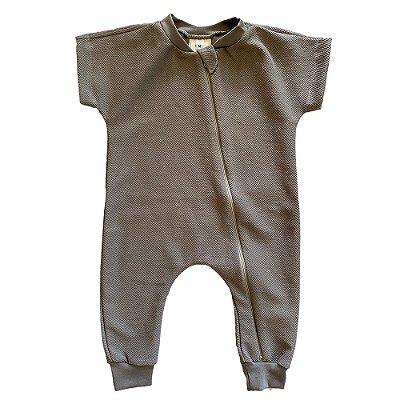 Macacão Bebê Bento Algodão Orgânico Cinza