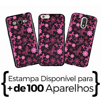 Capinha - Flores E Borboletas Rosa - Black