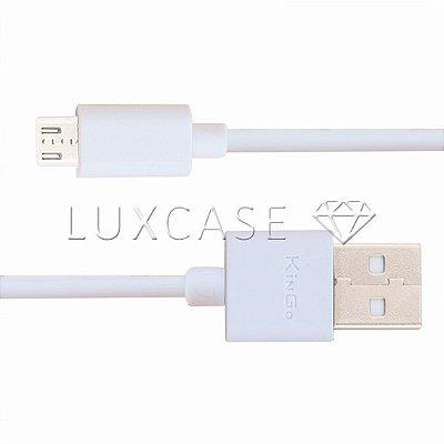 Cabo de Dados Micro USB / V8 Linha Premium Branco- KinGo