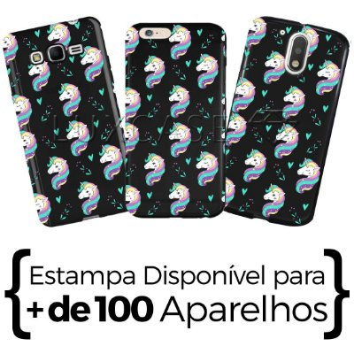 Capinha - Pattern Unicórnio Love - Black