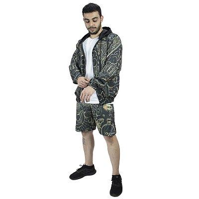 Conjunto Corta Vento e Bermuda Chess Clothing Mystic Preto