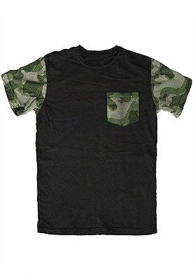 Camiseta - Camo Army - Manga e Bolso