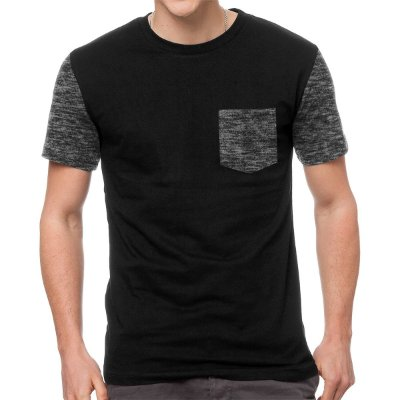 Camiseta - Cinza Escuro Mescla - Manga e Bolso