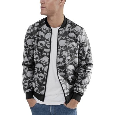 Jaqueta Bomber Chess Clothing Skulls Preto