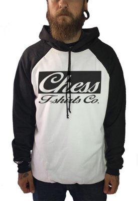 Moletom Raglan Chess Clothing Branco e Preto