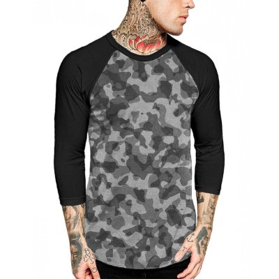 Raglan Manga 3/4 Chess Clothing Camuflado Cinza