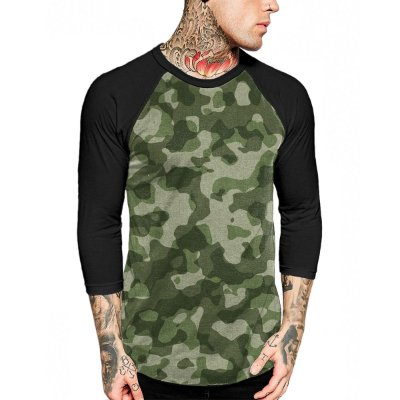 Raglan Manga 3/4 Chess Clothing Camuflado Verde