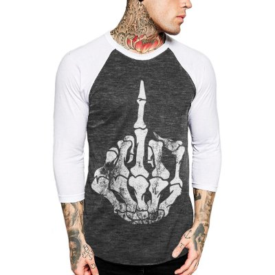 Raglan Manga 3/4 Chess Clothing Finger Mescla Cinza