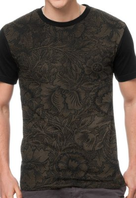 Camiseta Chess Clothing Floral Marrom