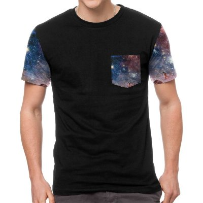 Camiseta Chess Clothing Manga e Bolso Galaxy Roxo