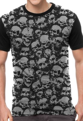 Camiseta Chess Clothing Caveiras Preta